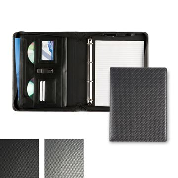 Picture of Carbon Fibre Textured PU Deluxe Zipped Ring Binder.
