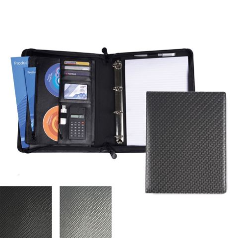 Picture of Carbon Fibre Textured PU Deluxe Zipped Ring Binder with Calculator.