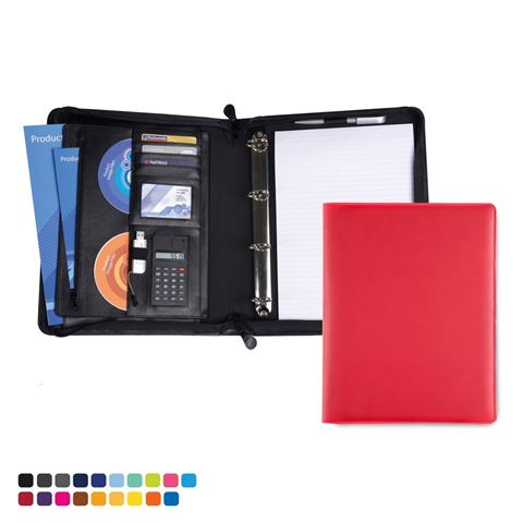 Picture of Deluxe Zipped Ring Binder with Calculator in Soft Touch Vegan Torino PU.