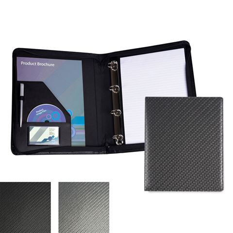 Picture of Carbon Fibre Textured PU Zipped A4 Ring Binder.
