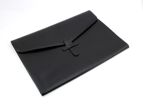Picture of Underarm Valise or Laptop Sleeve with Strap, in Belluno, a vegan coloured leatherette with a subtle grain.