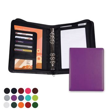 Picture of Zipped Six Ring Organiser in Belluno, a vegan coloured leatherette with a subtle grain.