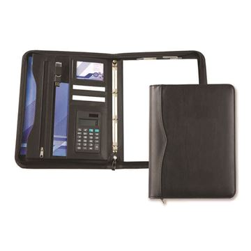 Picture of Black Houghton A4 Deluxe Zipped Ring Binder With Calculator