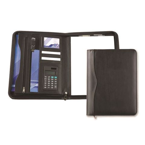 Picture of Black Houghton A4 Deluxe Zipped Folder With Calculator