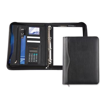 Picture of Black Houghton A4 Deluxe Zipped Ring Binder And Calculator