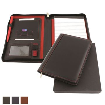 Picture of Accent Sandringham Nappa Leather Colours Zipped A5 Conference Folder