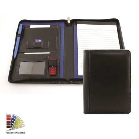 Picture of Pantone Matched Sandringham Leather Zipped A5 Conference Folder