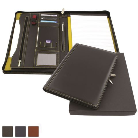 Picture of Accent Sandringham Nappa Leather Colours Deluxe Zipped A4 Conference Pad Holder