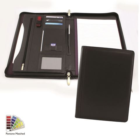 Picture of Pantone Matched Sandringham Leather Deluxe Zipped A4 Conference Pad Holder