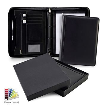Picture of Pantone Matched Sandringham Leather Deluxe A4 Zipped Ring Binder