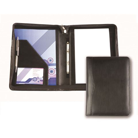 Picture of Black Balmoral Leather A5 Zipped Ring Binder