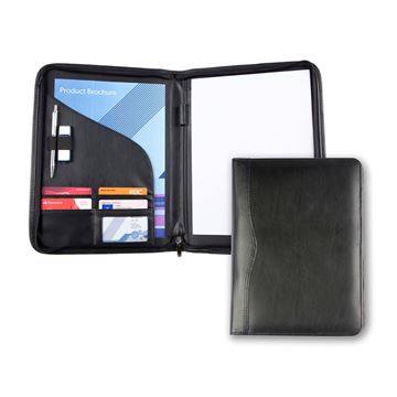 Picture of Black Balmoral Leather A4 Zipped Conference Folder