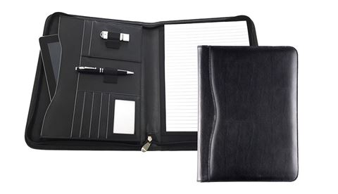 Picture of Black Balmoral Leather A4 Deluxe Zipped Conference Folder With Tablet Pocket