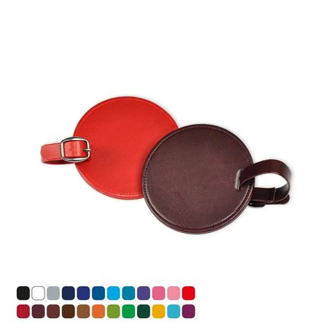 Picture of Round Bag Tag in Belluno, a vegan coloured leatherette with a subtle grain.