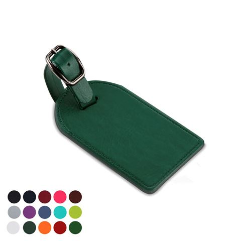 Picture of Large Bag Tag in Belluno, a vegan coloured leatherette with a subtle grain.
