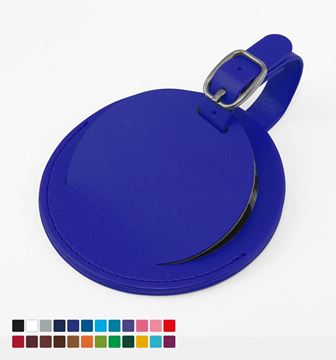 Picture of Round Luggage Tag with Flap, in Belluno, a vegan coloured leatherette with a subtle grain.