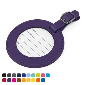 Picture of Round Luggage Tag with Clear Window to show details card. in Soft Touch Vegan Torino PU.