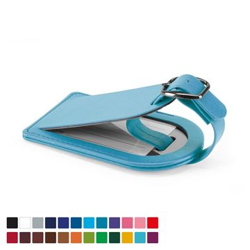Picture of Small Luggage Tag with Security Flap, in Belluno, a vegan coloured leatherette with a subtle grain.