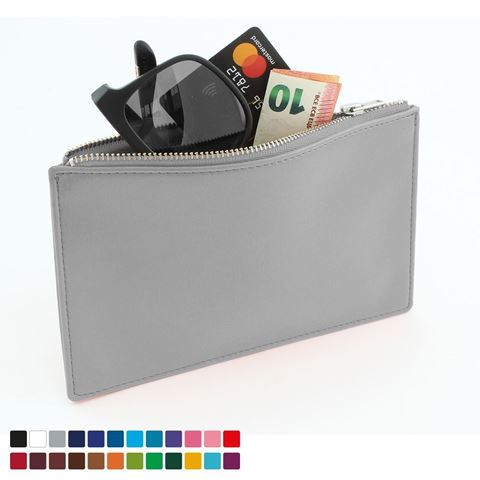 Picture of Small Zipped Pouch in Belluno, a vegan coloured leatherette with a subtle grain.