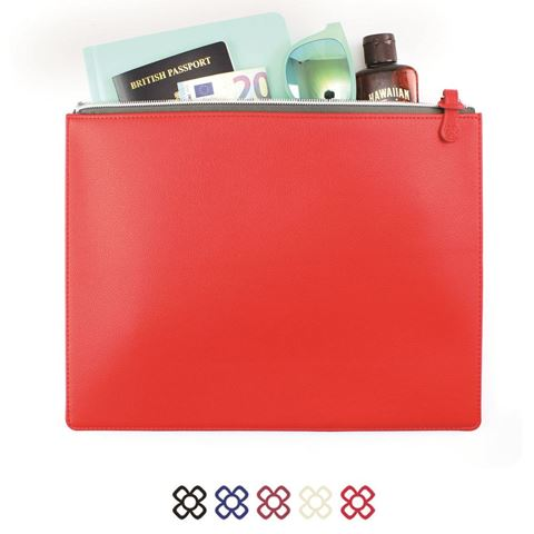 Picture of Colours Large Zipped Pouch in recycled Como, a quality vegan PU.