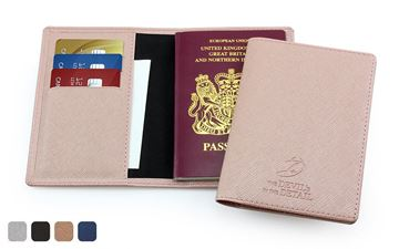 Picture of Deluxe Passport Wallet in a choice of 4 colours in textured vegan Saffiano.