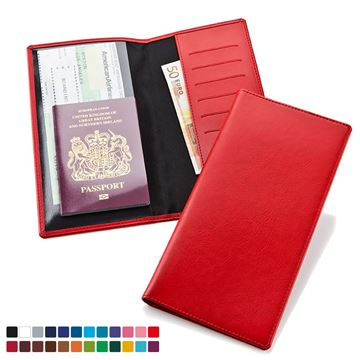 Picture of Travel Wallet in Belluno, a vegan coloured leatherette with a subtle grain.