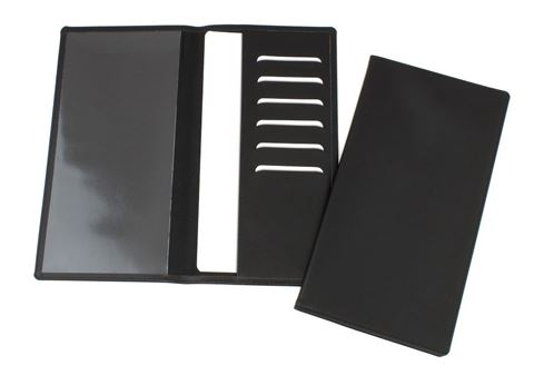 Picture of Hampton Leather Travel Wallet with one clear pocket and one material pocket with card slots.