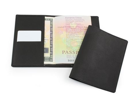 Picture of Black Biodegradable Passport Wallet in BioD a Biodegradable leather look material.