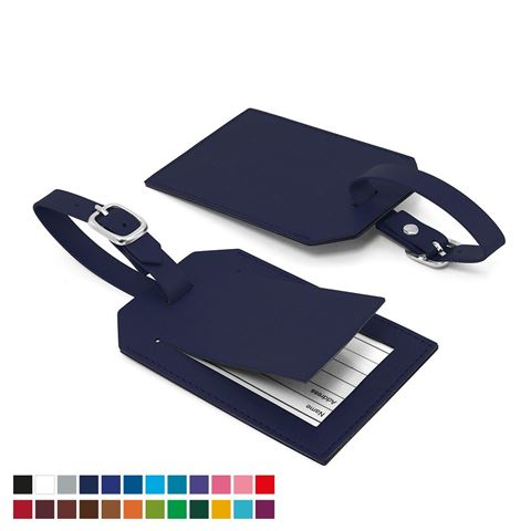 Picture of Rectangle Luggage Tag with Security Flap, in Belluno, a vegan coloured leatherette with a subtle grain.