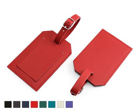 Picture of Recycled ELeather Rectangular Luggage Tag with Security Flap, made in the UK in a choice of 8 colours.