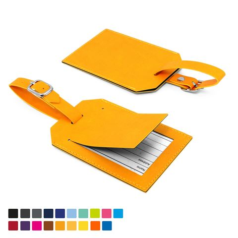 Picture of Rectangle Luggage Tag with Security Flap in Soft Touch Vegan Torino PU.
