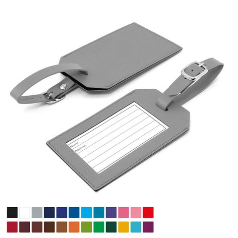Picture of Rectangle Luggage Tag in Belluno, a vegan coloured leatherette with a subtle grain.