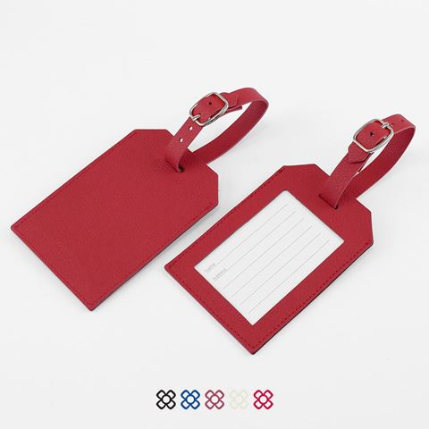 Picture of Rectangle Luggage Tag, finished in COMO a quality recycled vegan material.