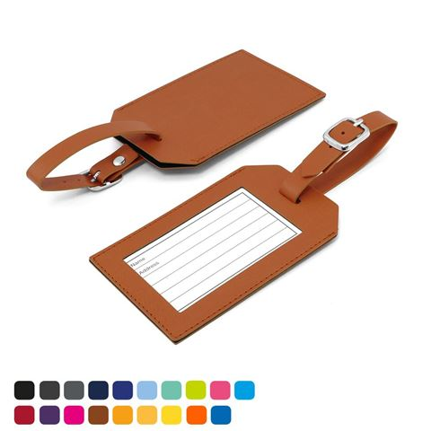 Picture of Rectangle Luggage Tag in Soft Touch Vegan Torino PU.