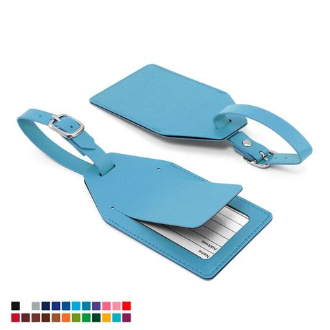 Picture of Angled Luggage Tag with security flap in Belluno, a vegan coloured leatherette with a subtle grain.