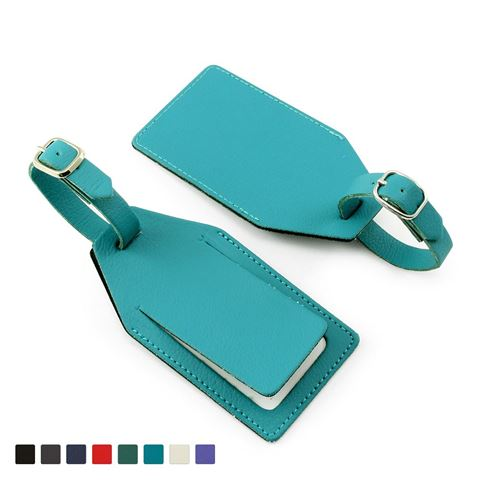 Picture of Recycled ELeather Rectangular Luggage Tag with security flap