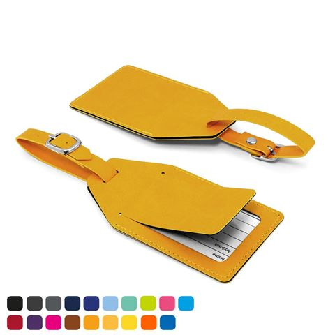Picture of Angled Luggage Tag with security flap in Soft Touch Vegan Torino PU.
