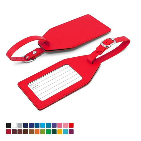 Picture of Angled Luggage Tag in Belluno, a vegan coloured leatherette with a subtle grain.