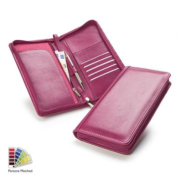 Picture of Pantone Matched Sandringham Leather Zipped Travel Wallet