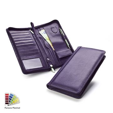 Picture of Pantone Matched Sandringham Leather Deluxe Zipped Travel Wallet