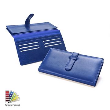 Picture of Pantone Matched Sandringham Leather Deluxe Travel Wallet with Strap
