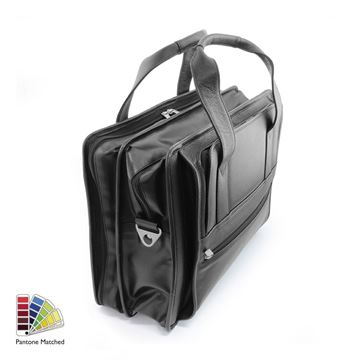 Picture of Pantone Matched Sandringham Leather Carry on Flight Bag in black.