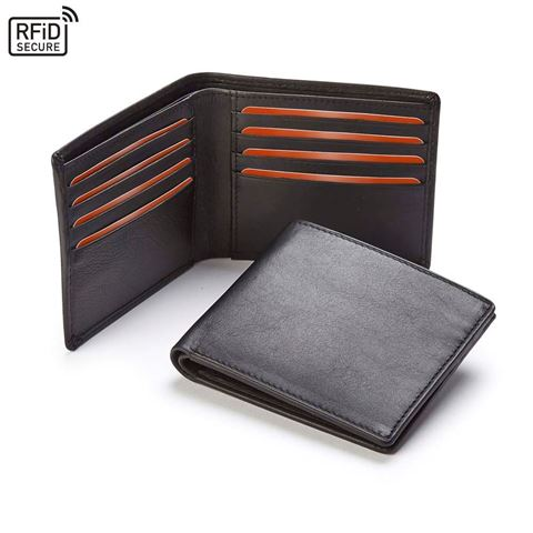 Picture of Accent Sandringham Nappa Leather Luxury Leather Wallet with RFID Protection, with accent stitching in a  choice of black, navy or brown.