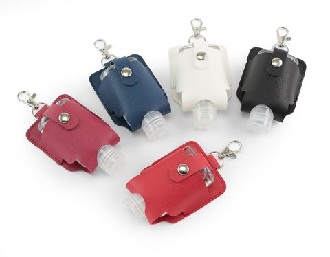 Picture of Hand Sanitiser Pouch with Clip,  in recycled Como, a quality vegan PU, ideal to hold a 50 ml bottle of sanitiser.