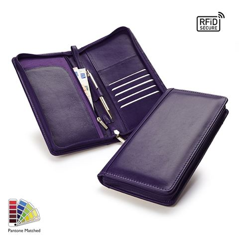 Picture of Pantone Matched Sandringham Leather Zipped Travel Wallet with RFID Protection
