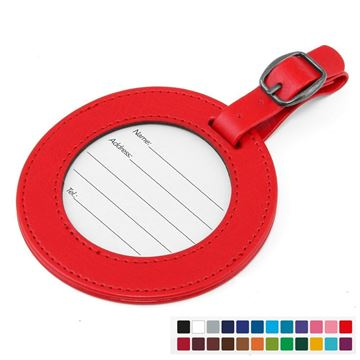 Picture of Round Luggage Tag with Window, in Belluno, a vegan coloured leatherette with a subtle grain.