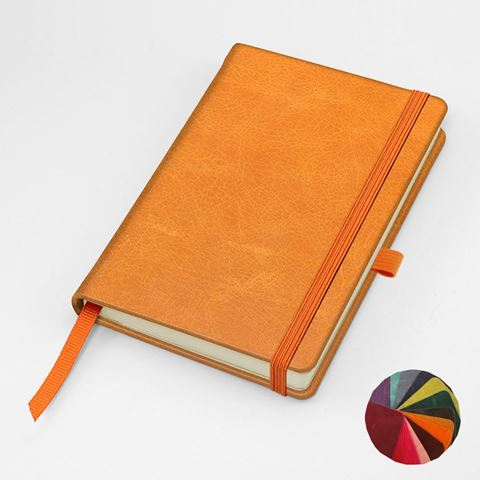 Picture of Coloured Kensington Distressed Leather Pocket Casebound Notebook with Elastic Strap & Pen Loop