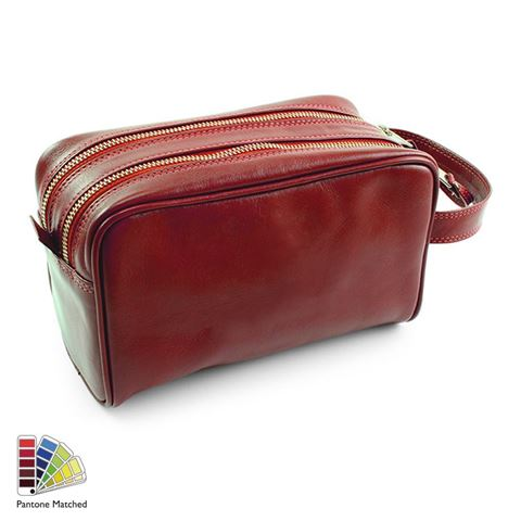 Picture of Pantone Matched Sandringham Leather Wash Bag