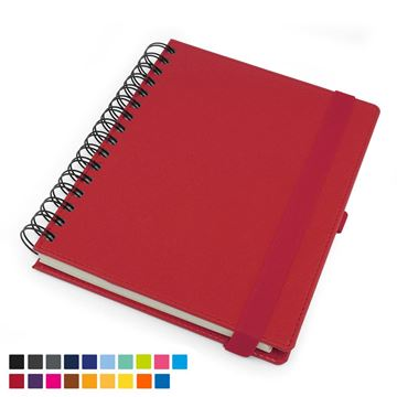 Picture of Deluxe A5 Wiro Notebook with Elastic Strap & Pen Loop in Belluno vegan leather look PU.
