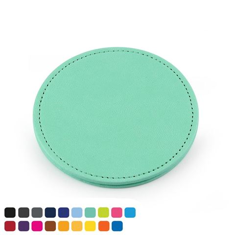 Picture of  Deluxe Round Coaster in Soft Touch Vegan Torino PU.